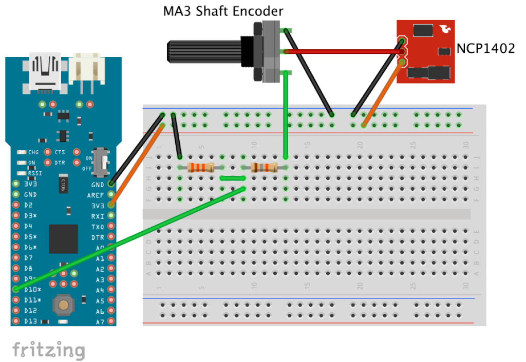Breadboard Fio with Step Up and Encoder